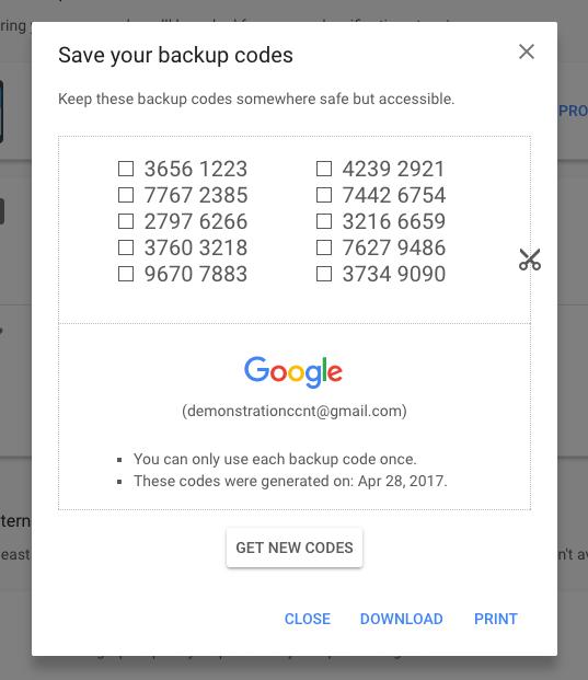 A screenshot of Google's 2FA backup codes.