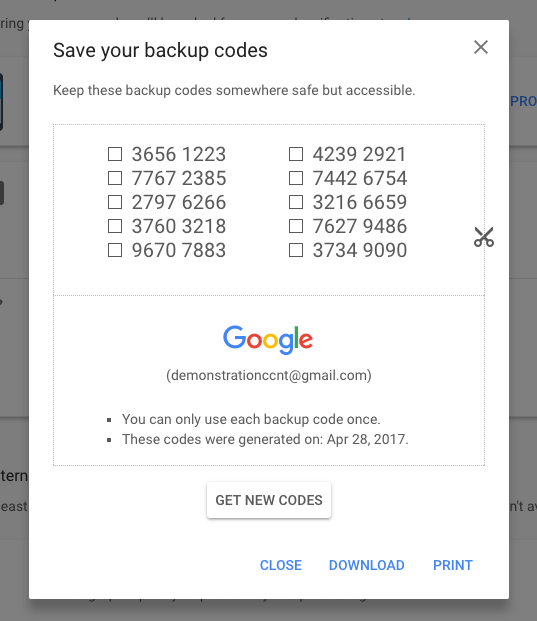 A screenshot of Google's 2FA backup codes.