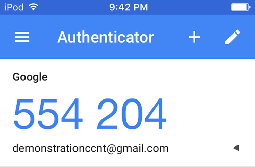 2FA codes received via the Google Authenticator app.