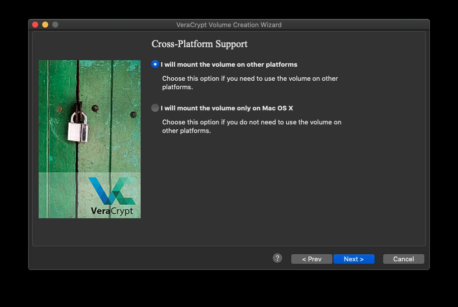 Cross platform support option enabled