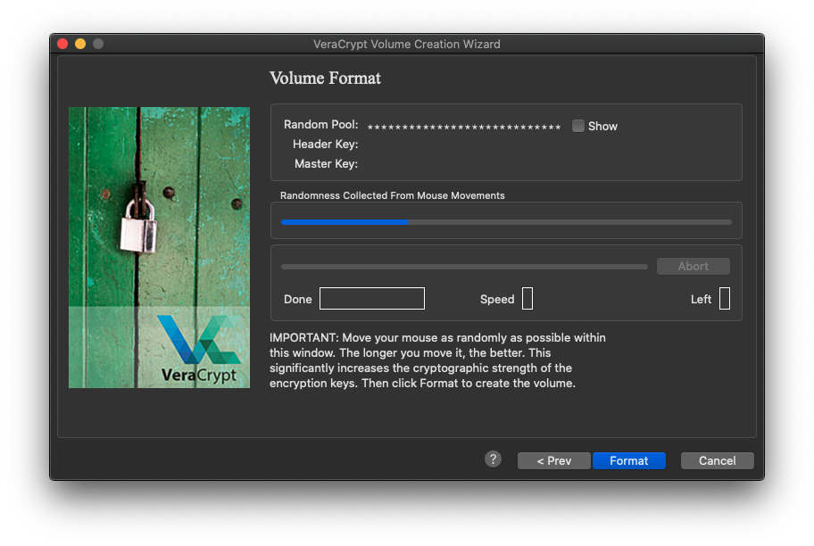 Volume format window