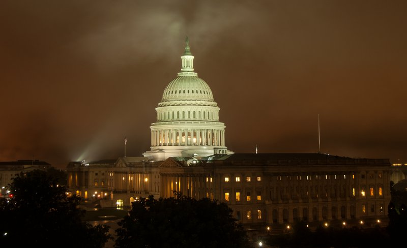 Capitol building on a foggy night