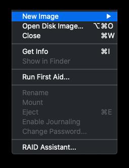 New Image drop-down menu location