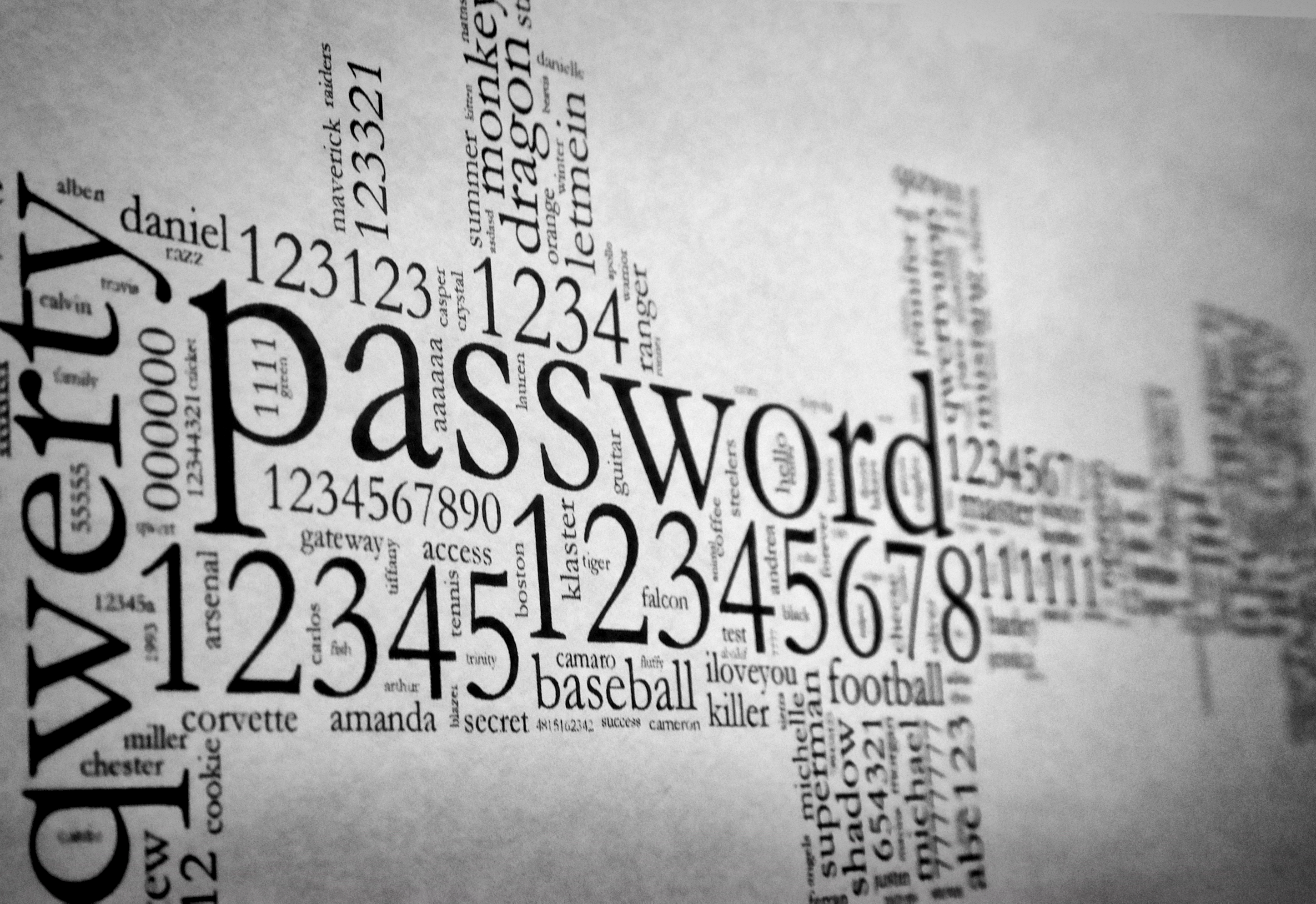 Printed visualization of the most popular (and bad) passwords