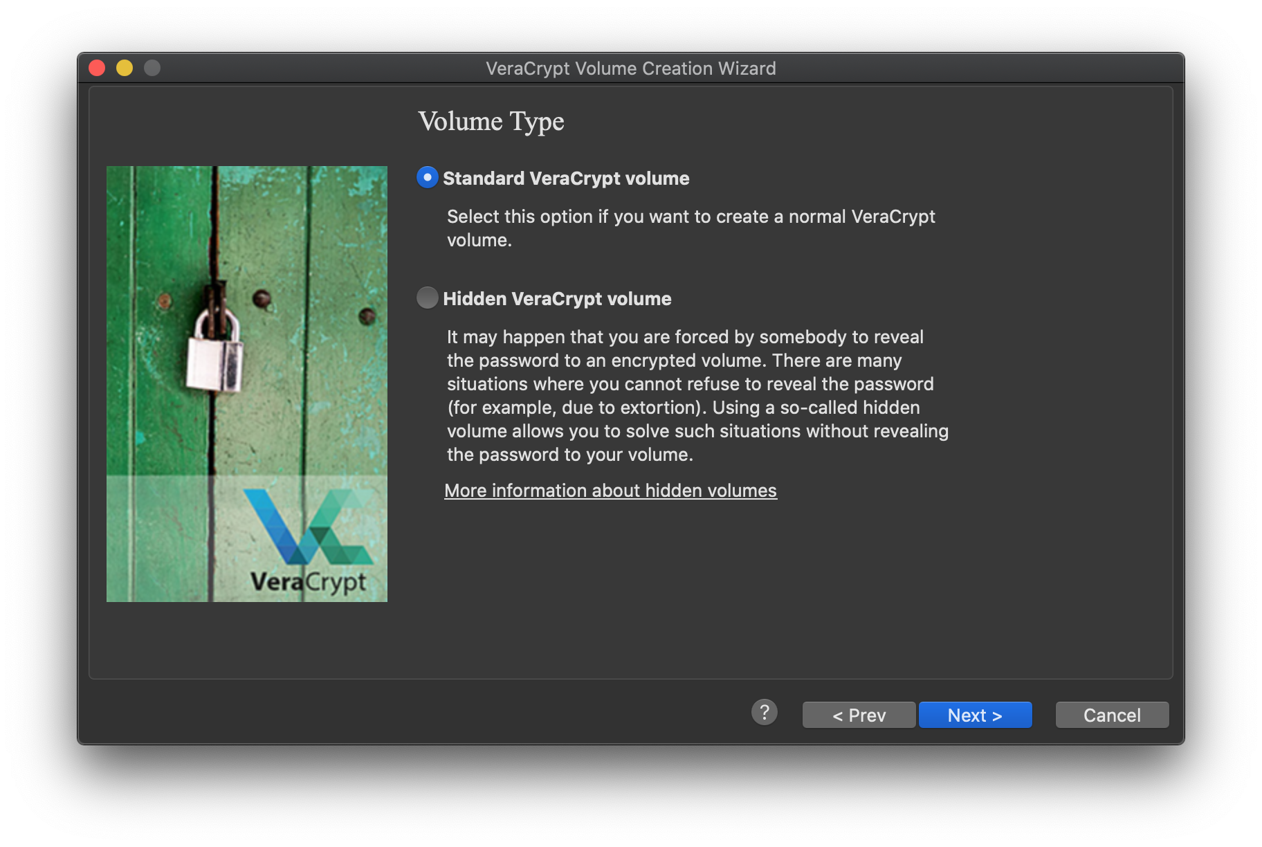 VeraCrypt create standard volume on a device or partition option selected