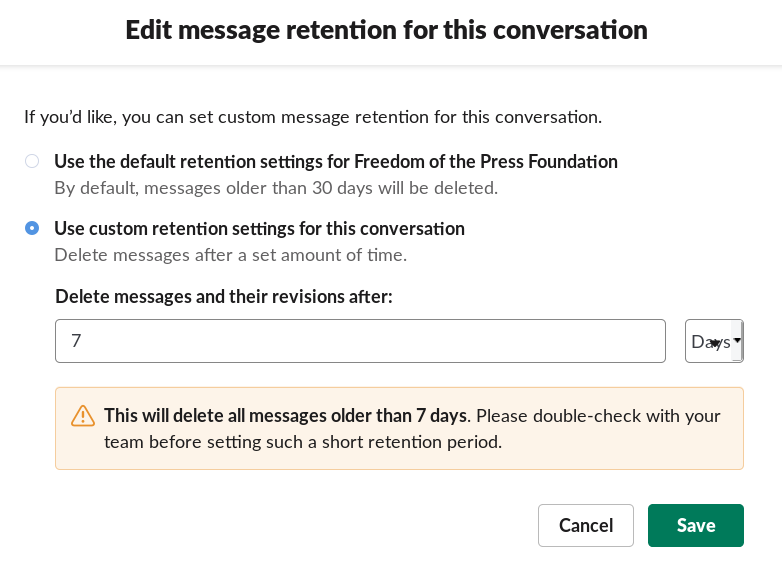 """Screenshot of a page titled """"Edit message retention for this conversation,"""" with two settings: default, and custom retention settings. The user is set to custom retention settings, with """"delete messages and their revisions"""" set to 7 days."""