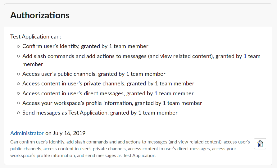 Screenshot of data available to an example third party application, which includes the user's identity, slash commands, public and private channel data, direct messages, profile information, and the ability to send messages as the example application.