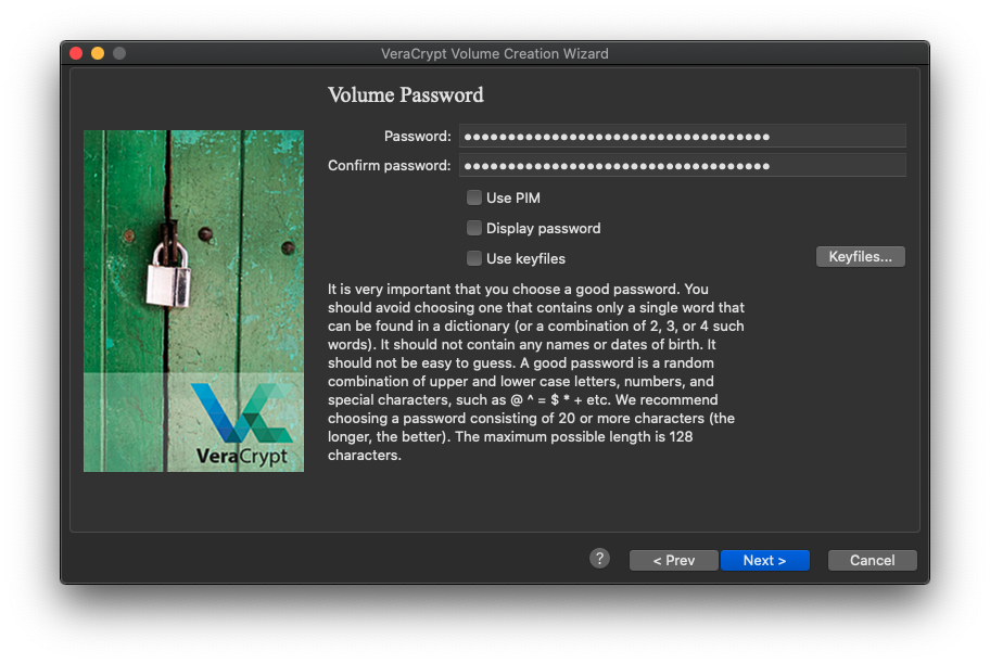 Volume password window with long password put in text fields
