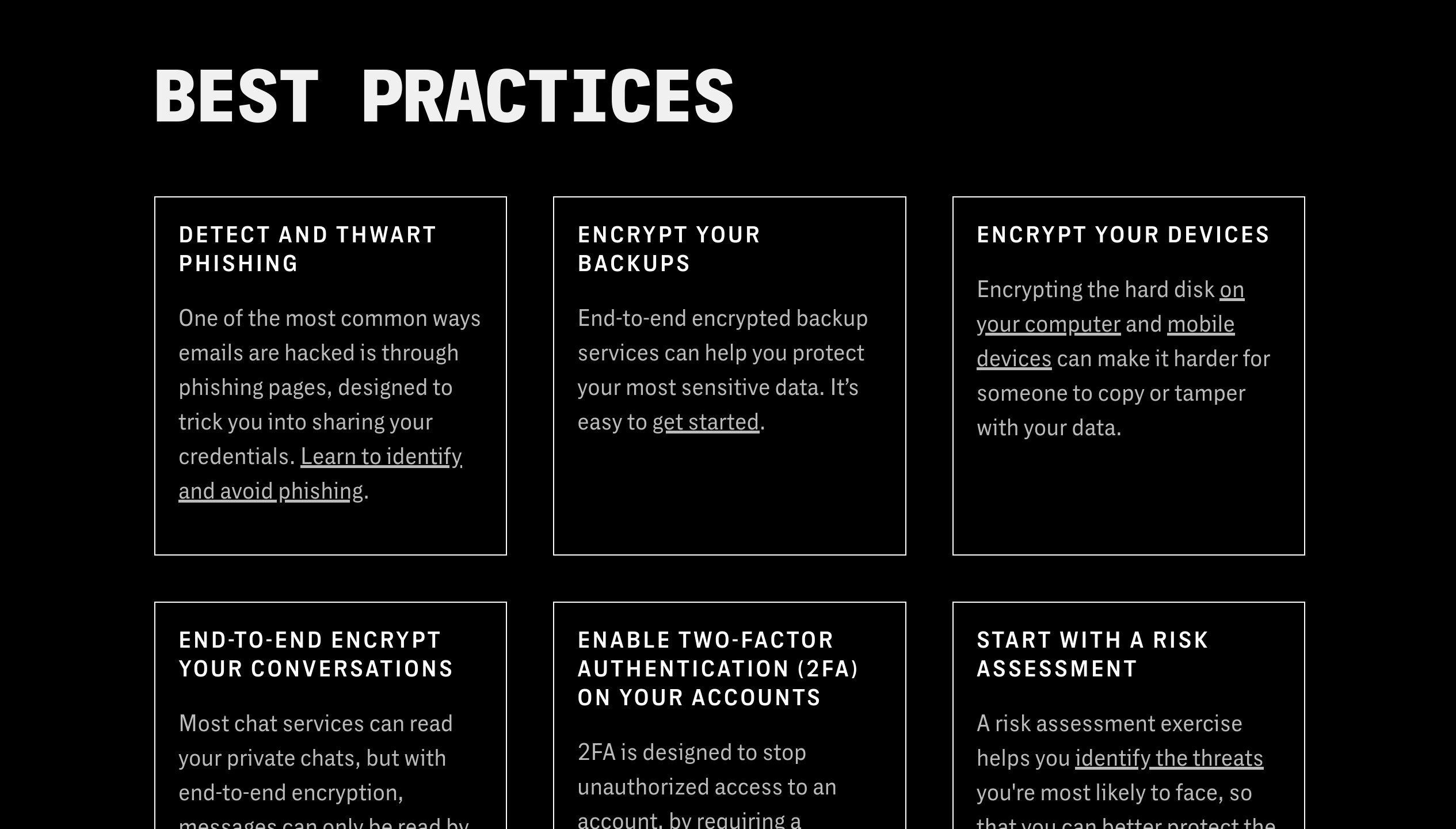 Digital Security for Filmmakers platform best practices page with tips laid out in boxes