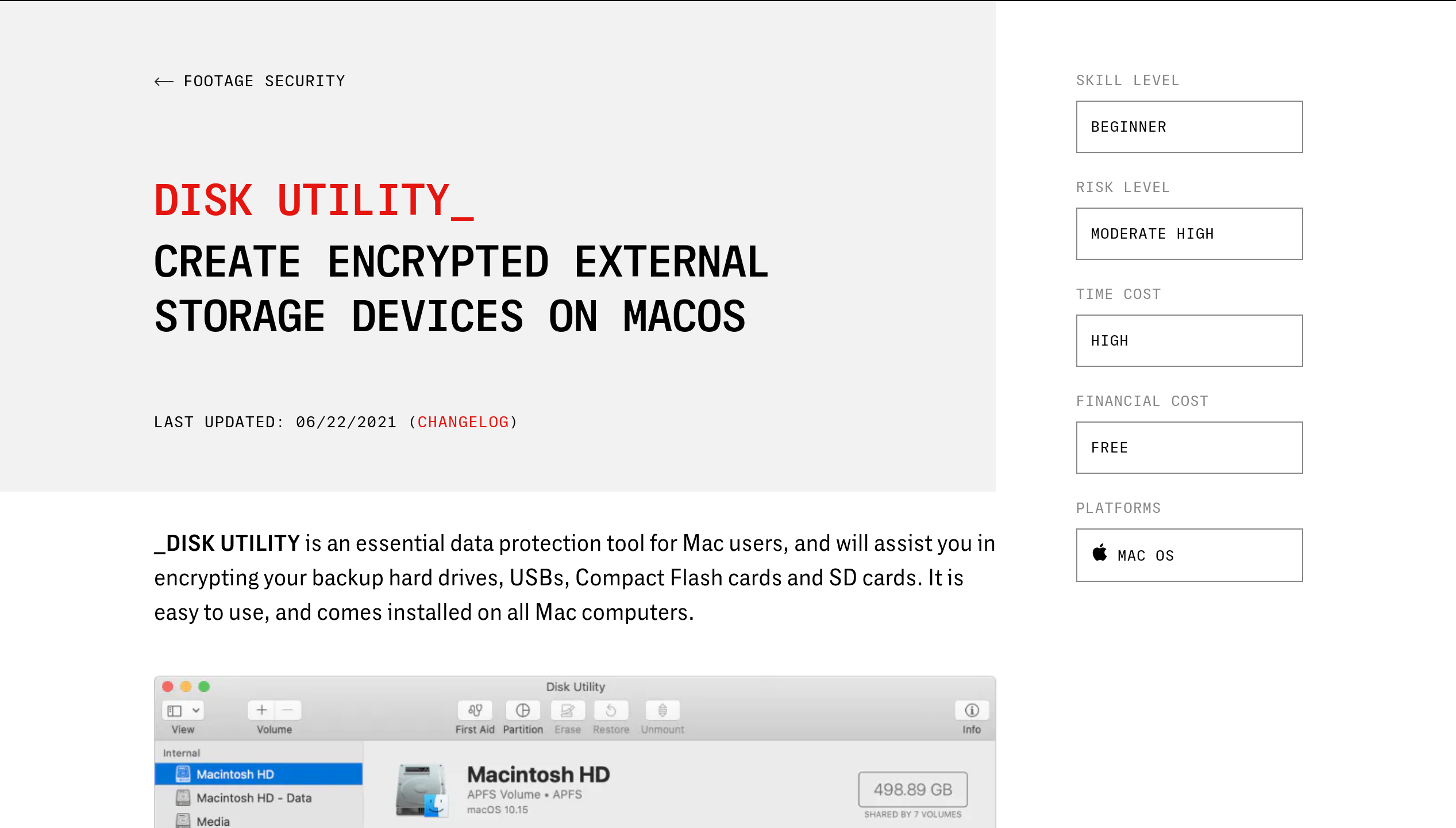 Digital Security for Filmmakers platform resource page on encrypting external storage devices with Disk Utility