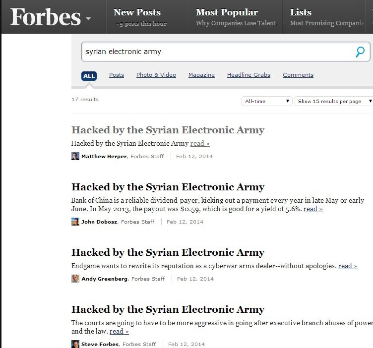 A screenshot of the Forbes blogposts defaced by the Syrian Electronic Army