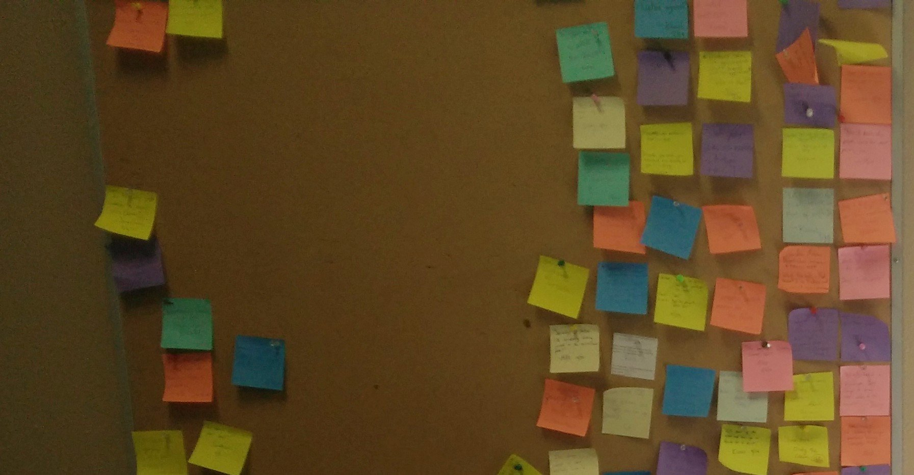 Photo of a cork board pinned with dozens of post-it notes from the student newsroom.