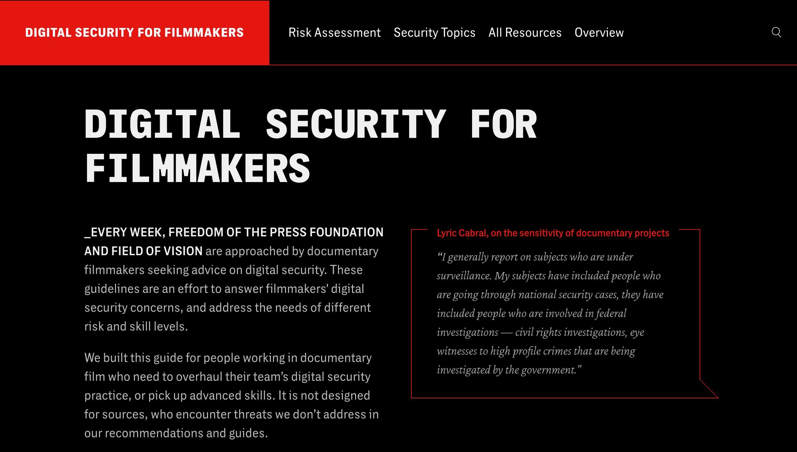Digital Security for Filmmakers platform landing page