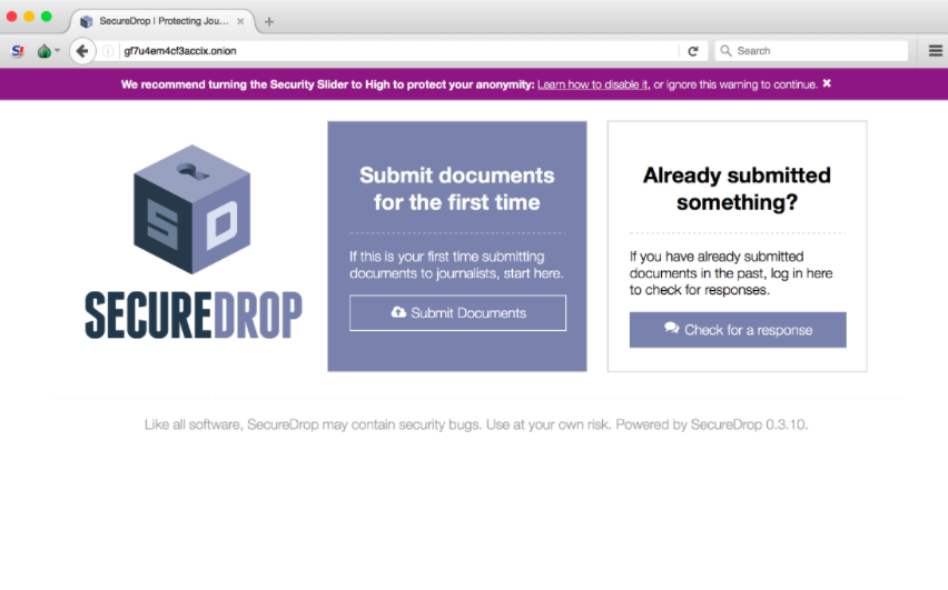 SecureDrop interface