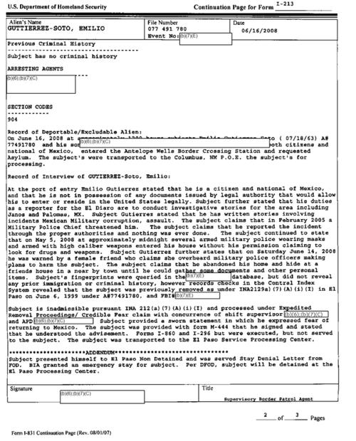 Gutiérrez CBP interview record