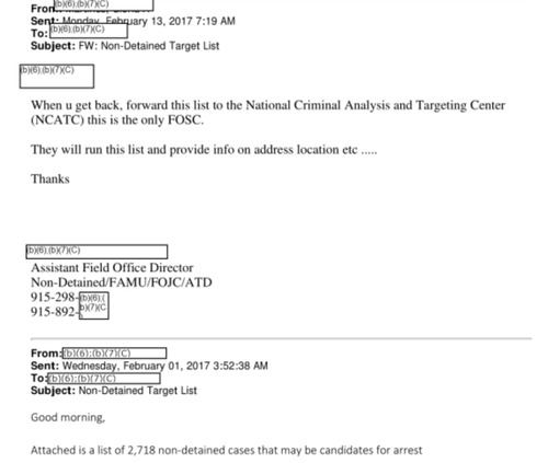 Screenshot of ICE emails