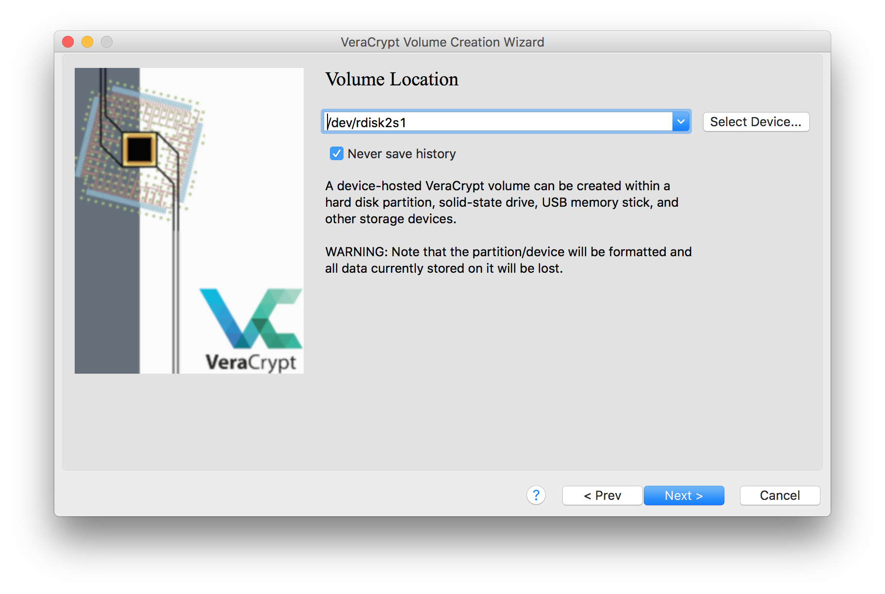 An image of the VeraCrypt volume creation window, with the location of the target device added
