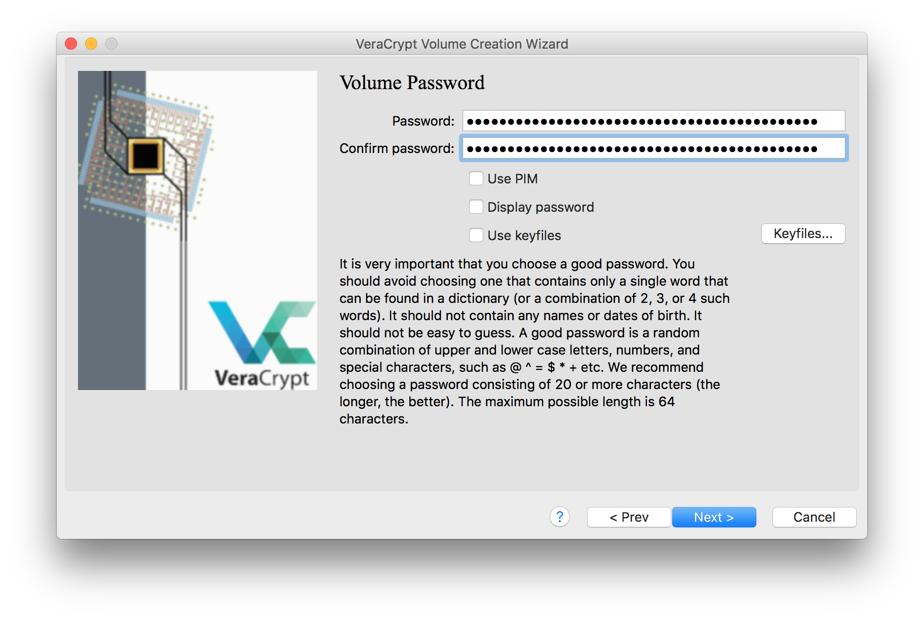 An image of the VeraCrypt volume creation window, with a long passphrase filled in the password selection fields
