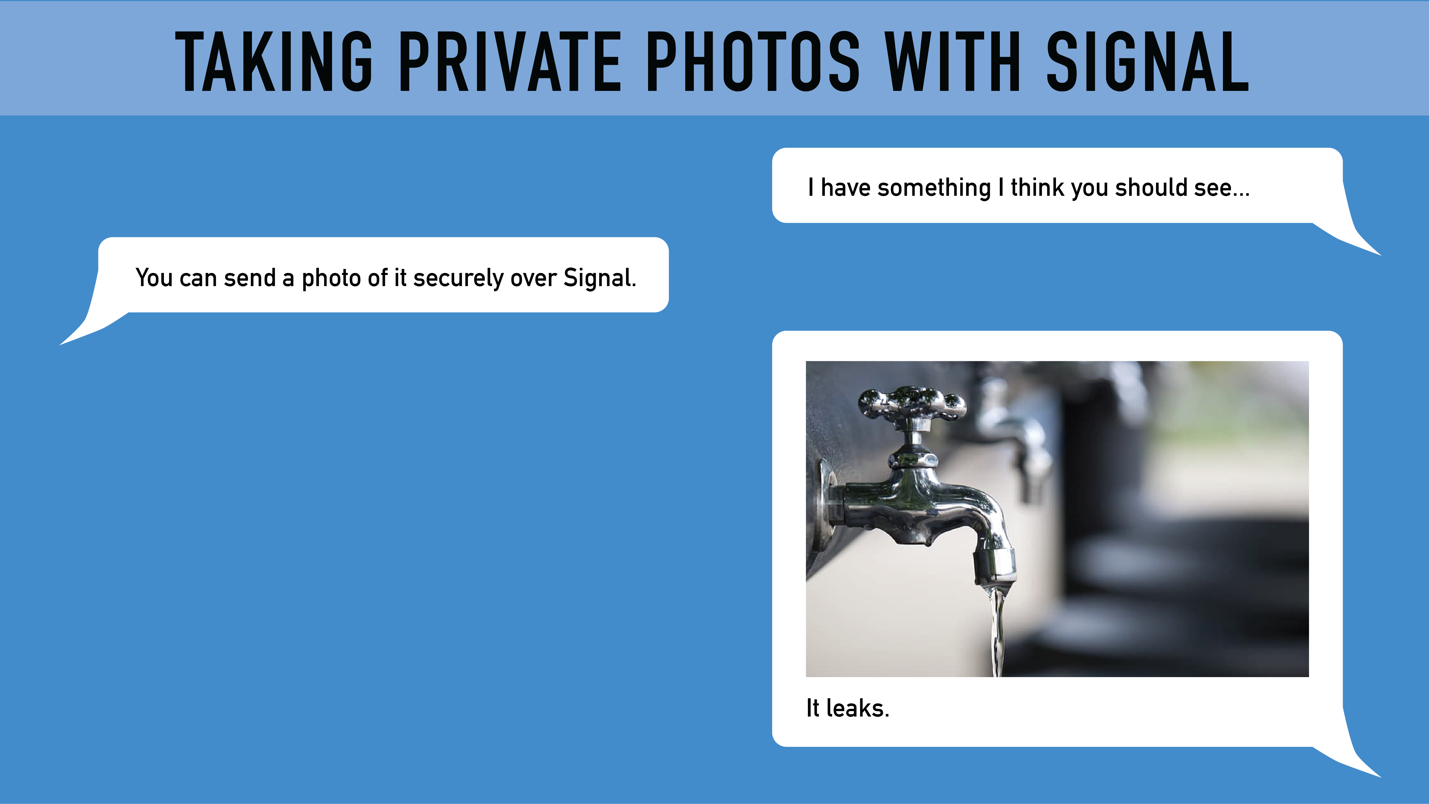 Header image of someone sharing a photo within Signal