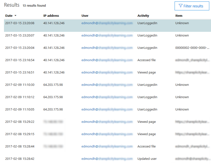 Screenshot of audit log results in Office 365