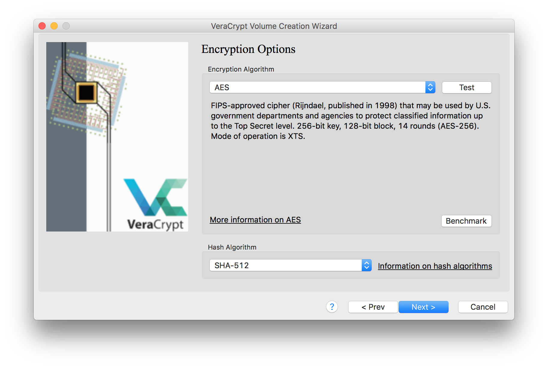 """An image of the VeraCrypt volume creation window, with the option selected to format the disk image with an """"AES"""" encryption algorithm"""