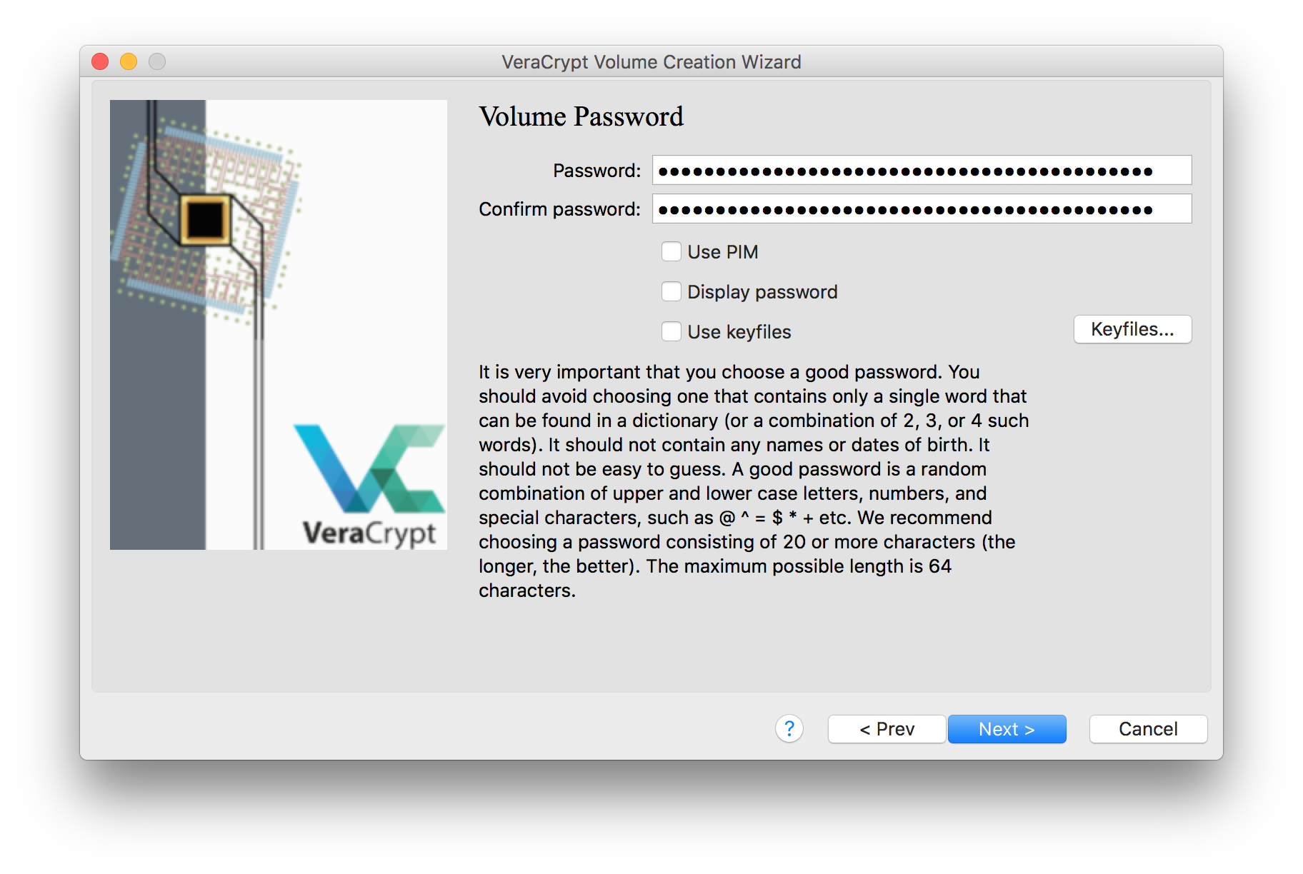 An image of the VeraCrypt volume creation window, with the password prompts filled with a long passphrase