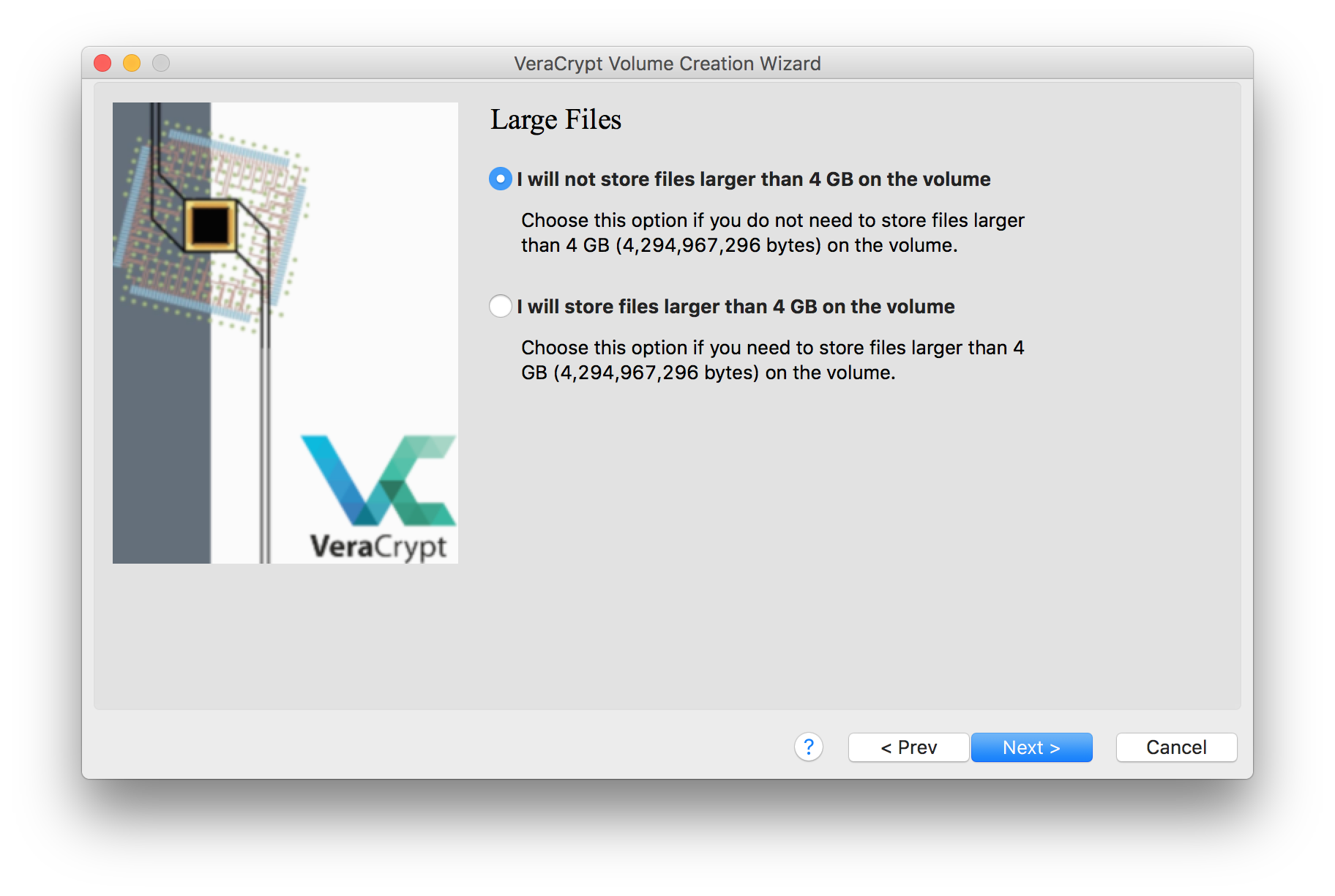 An image of the VeraCrypt volume creation window, with the option selected to not prepare the encrypted disk image to store files larger than 4 GB