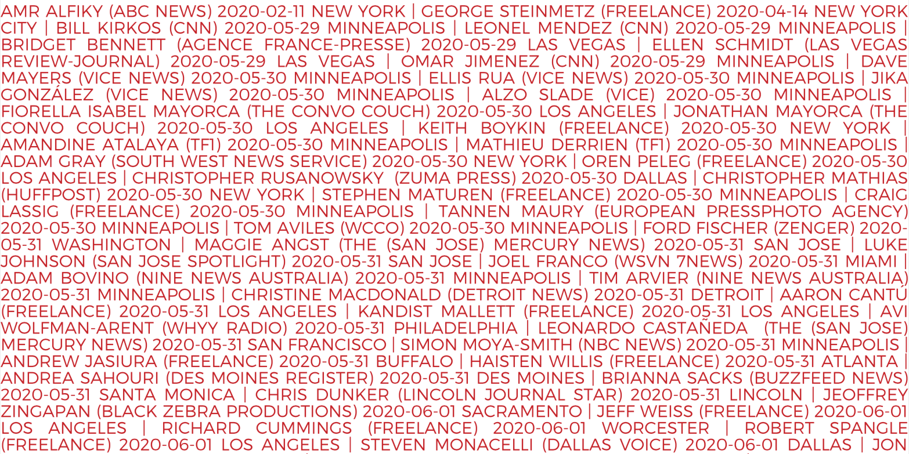 Image from the U.S. Press Freedom arrest report, with names, affiliations, and dates of arrests of U.S. journalists throughout 2020.