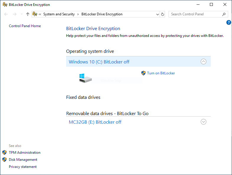 Bitlocker Drive Encryption in Windows 10