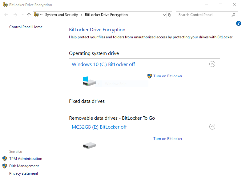 BitLocker To Go removable drives list in Windows 10