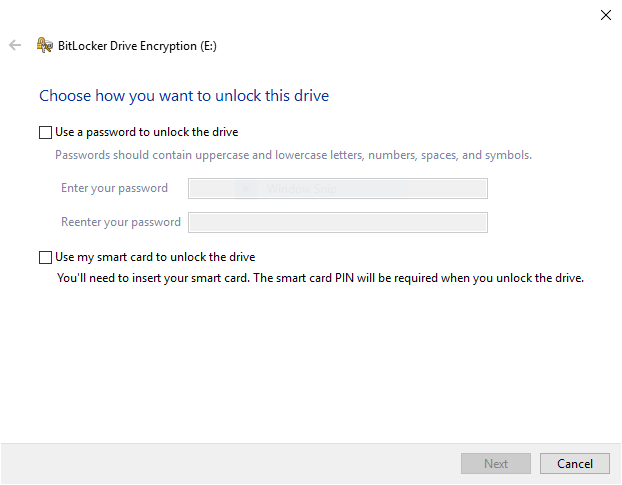 BitLocker To Go password or smartcard option