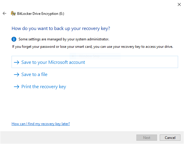 BitLocker recovery key options