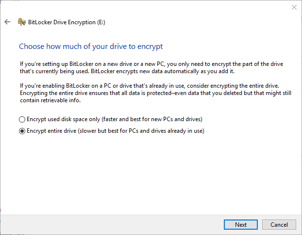 BitLocker encrypt used or all space option