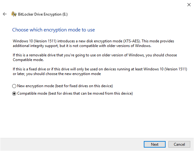 BitLocker encryption mode options