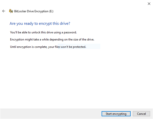 BitLocker confirm ready to encrypt drive step