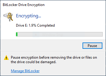 BitLocker encryption progress bar