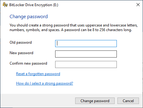 BitLocker change password prompt