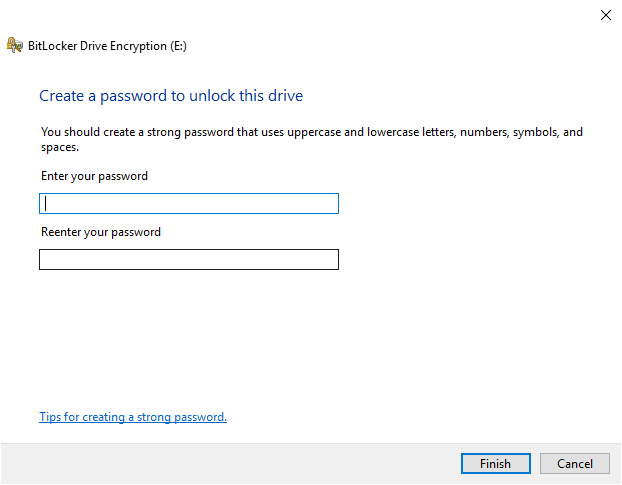 BitLocker new password dialog