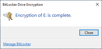 BitLocker drive encryption completed confirmation