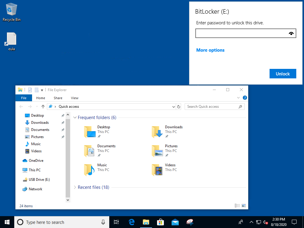 BitLocker To Go unlock drive prompt