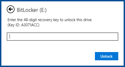 BitLocker To Go recovery key prompt
