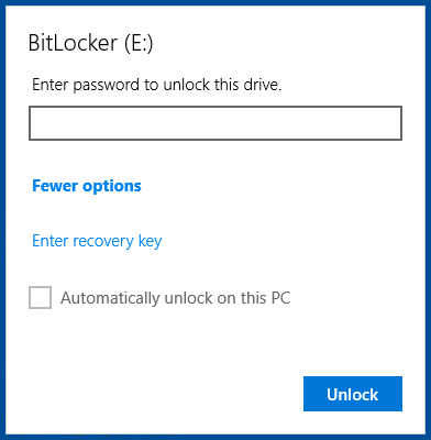 BitLocker To Go prompt with More Options expanded