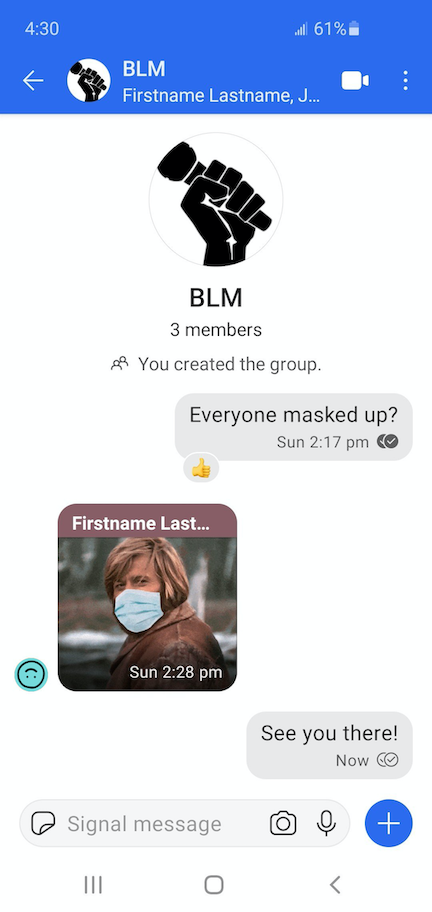 A screenshot within group messaging, showing group members exchanging messages.