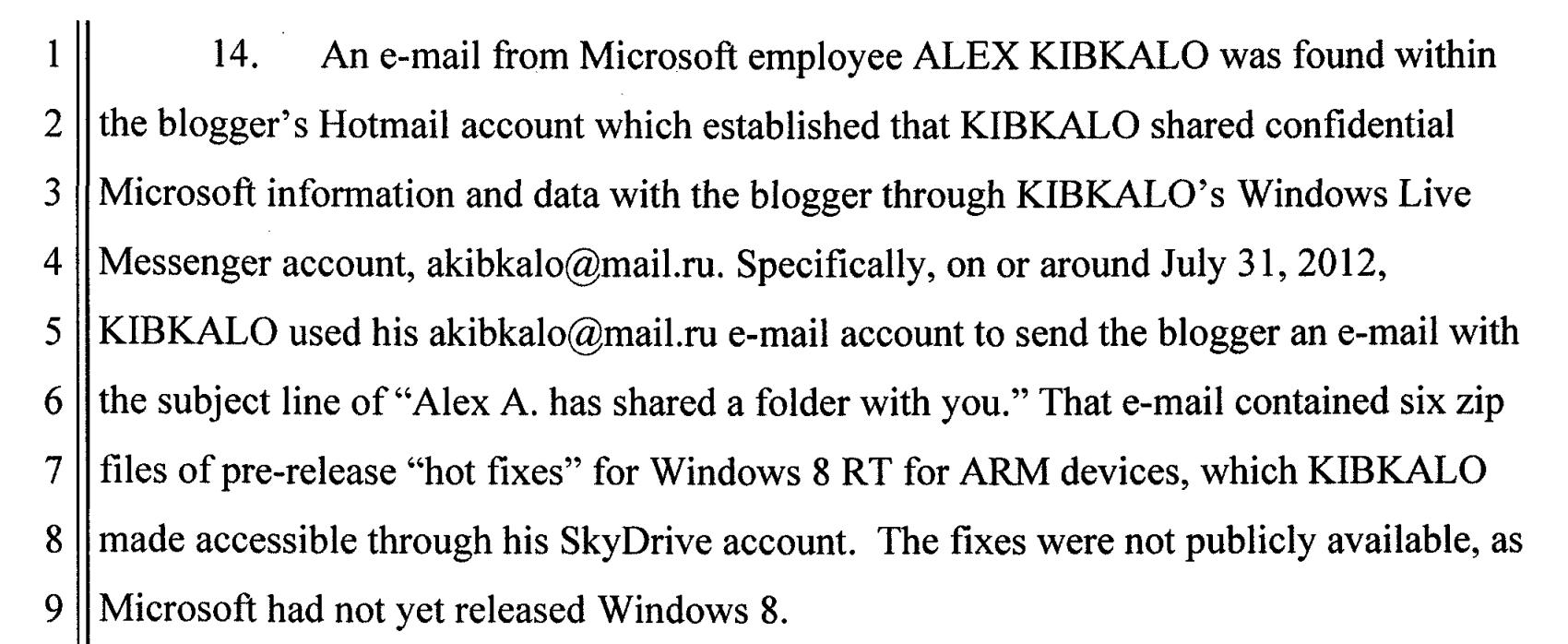 Microsoft blogger leak case docs