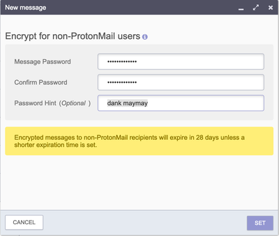 Encrypt for non-ProtonMail users password dialog