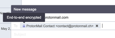 Email address in Compose window indicating that the message is end-to-end encrypted