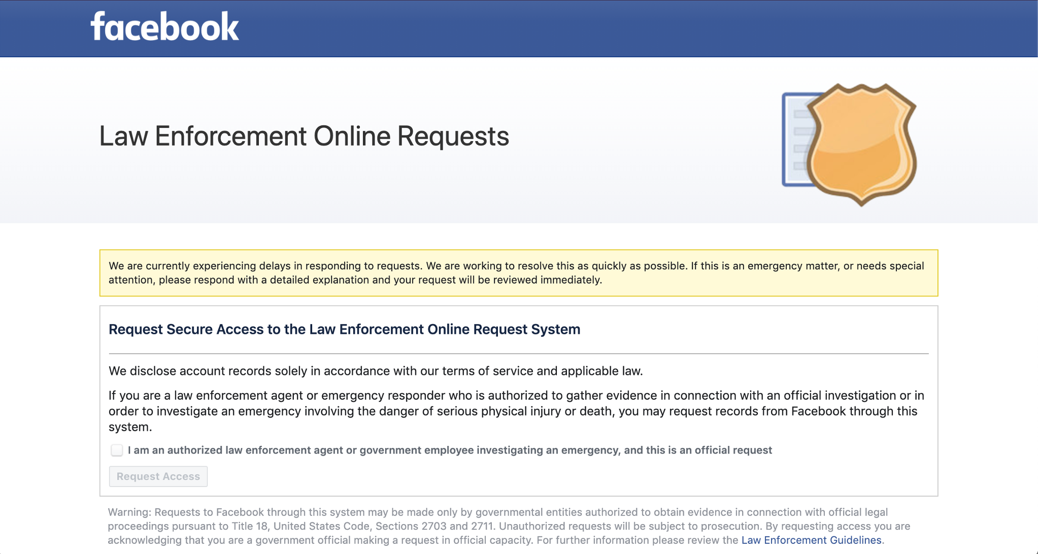 A screenshot of Facebook's law enforcement data request portal