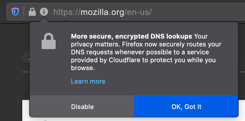 Screenshot of a Firefox notification alerting users that their DNS lookups will be encrypted.