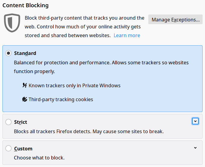 "A screenshot of Firefox's content blocking settings, including standard, strict, and custom. The user is currently selecting ""standard,"" which only blocks trackers in private windows and third party cookies. Strict settings would block all trackers."