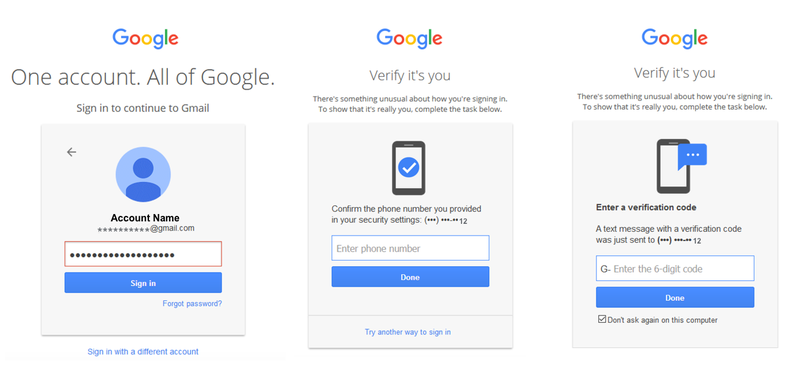 Screenshot demonstrating the three steps to log in to Google with 2FA